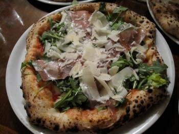 Kestè pizza: prosciutto, buffalo mozzarella, gran cru and arugula