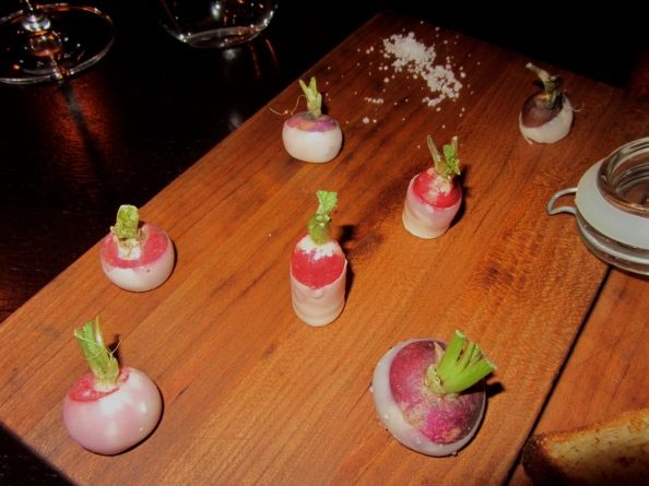 Butter-dipped radishes with fleur de sel