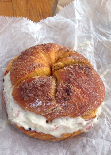 Behold: the French toast bagel. Cue the choir of angels.