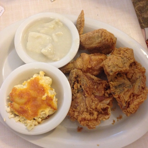 Fried chicken, dumplings and mac and cheese...trifecta of deliciousness.