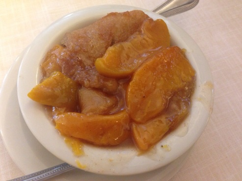 Peach cobbler, cause there's always room for something sweet.