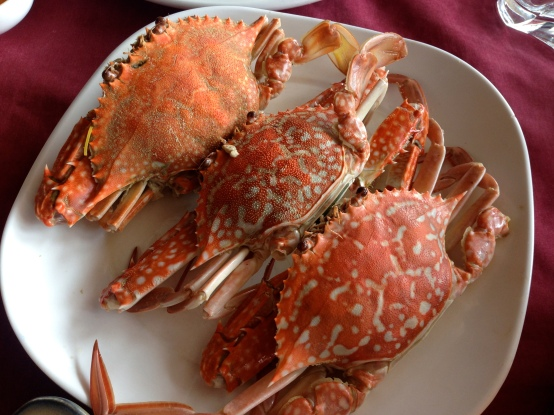 Boiled crab, creepy looking but tasty