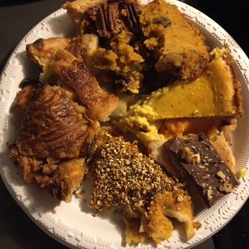Lest you think I haven't been eating, here's a photo of the obscene amount of dessert I consumed on Thanksgiving.